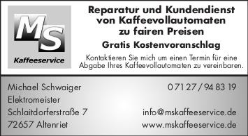 Kundendienst Kaffeeautomaten, Kaffeeautomaten Altenriet, MS Kaffeeservice