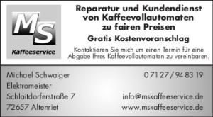 Reparatur und Kundendienst von Kaffeevollautomaten, Kundendienst, Kaffeemaschine Kundendienst