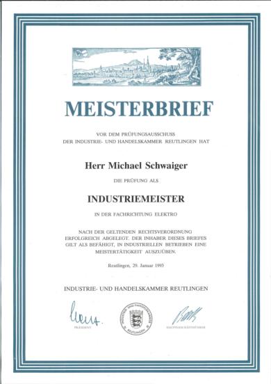 Meisterbrief Michael Schwaiger, Industriemeister Zertifikat, Auszeichnung